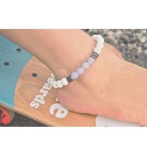 Accessories - Women's white lava bead and agate anklet